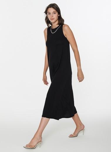 Loves You Zincir Aksesuarlı Kolsuz Maxi Elbise Siyah
